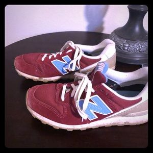 New Balance 696 red sneakers